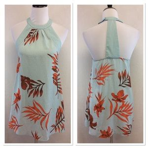 Lulu's teal floral print halter mini dress